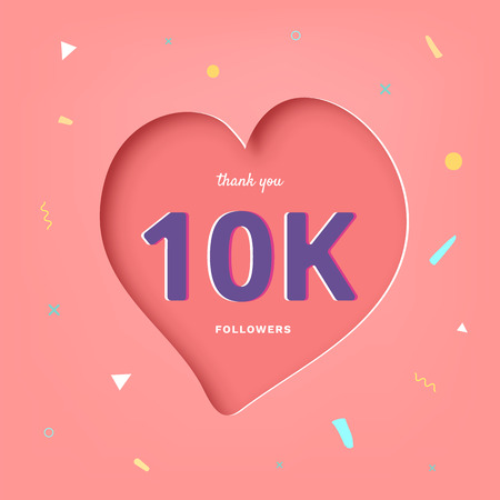 10K followers thank you post with heart shape and decoration. 10000 subscribers celebration banner. Greeting card for social networks. Vector illustration. Çizim