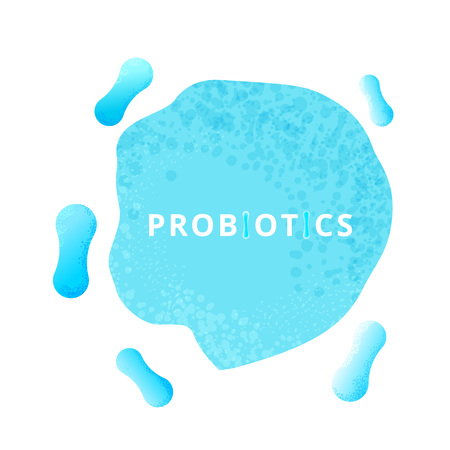 Probiotics bacterias. Therapeutic bacteria organisms. Healthy nutrition ingredien with lettering.  Vector illustration.