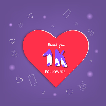 1K followers thank you post with heart shape and decoration. 1000 subscribers celebration banner. Greeting card for social networks. Vector illustration.
