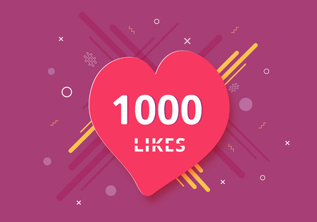 1000 likes  banner with heart shape. Celebration 1k like card for social networks. Template for social media post. Vector illustration. 向量圖像