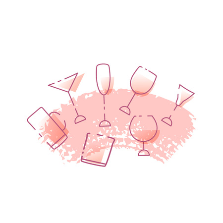 Vector illustration of glasses of alcoholic drinks isolated on white background. Alcohol cocktails banner and logo design. Иллюстрация