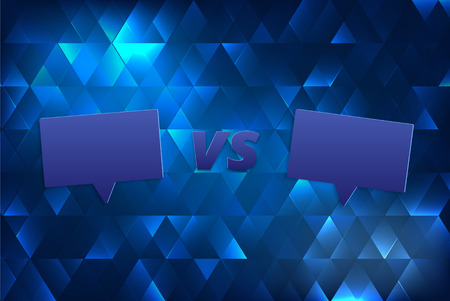 VS horizontal card with speech bubble. Versus screen template. Vector illustration.