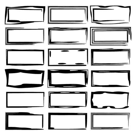Set of black rectangle grunge frames. Geometric empty borders. Vector illustration.