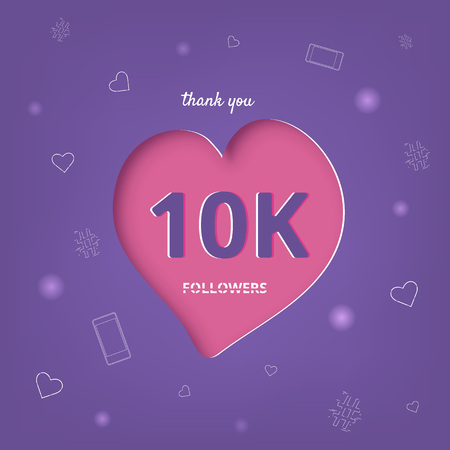 10K followers thank you post with heart shape and decoration. 10000 subscribers celebration banner. Greeting card for social networks. Vector illustration. Illusztráció