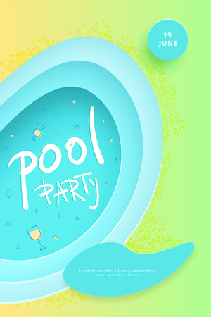 Pool party flyer. Vertical celebration  banner with paper cut shapes and decoration. Template for event design. Vector illustration.
