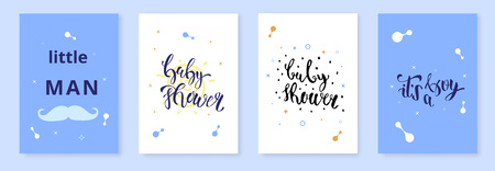 Set of Baby Shower invitation template. It's a boy kit. Handwritten lettering. Vector illustration.