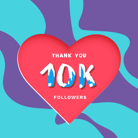 10K followers thank you post with heart shape and decoration. 10000 subscribers celebration banner. Greeting card for social networks. Vector illustration. 向量圖像