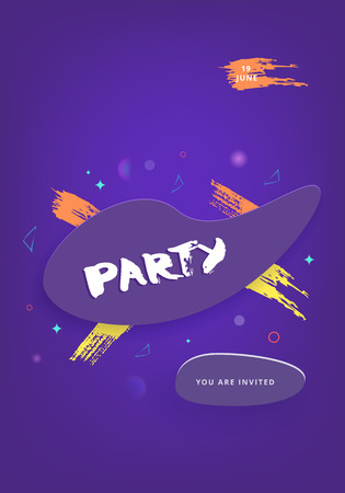 Party banner. Vertical violet flyer for holiday design with geometric decorative elements. Card for social media. Memphis style posters with creative lettering. Vector illustration. Vecteurs