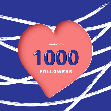 1000 followers thank you post with heart shape and line decoration background. 1K subscribers celebration banner. Greeting card for social networks. Vector illustration.