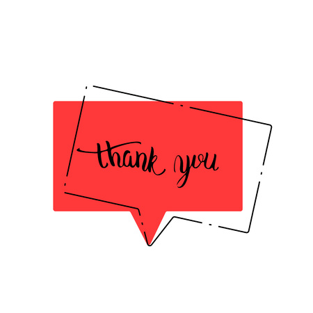 Thank youspeechbubble isolated on white background. Banner with handwritten lettering. Thank you phrase. Vector illustration.