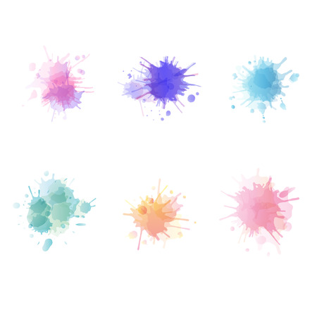 Set of watercolor splash blots. Multicolored paint stains collection.