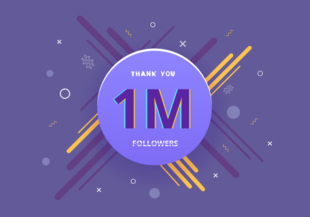 1M followers thank you post with round badge and creative decoration. 1000000 subscribers  banner. Greeting card for social networks.