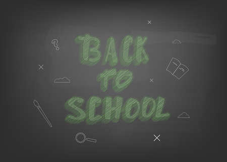 Back to school chalk lettering on blackboard. Template for season promotion cards. Education banner with decoration. Illustration