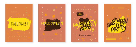 Set of Halloween Posters. Template for holiday Happy Halloween party flyers design. Vector illustration.
