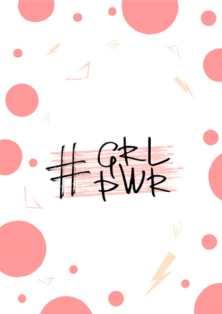 Girl Power abbreviation quote on decorative  background. Handwritten lettering. Vector illustration. Illustration