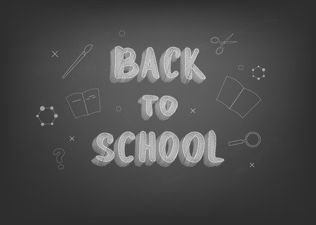 Back to school chalk lettering on blackboard. Template for season promotion cards. Education banner with decoration. Vector illustration.