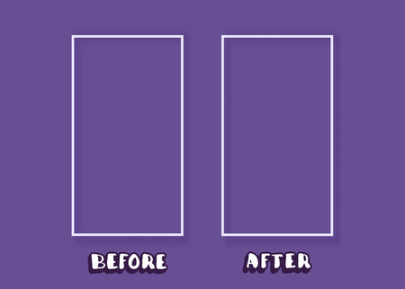 Template before and after background. Comparison card with frames empty space.