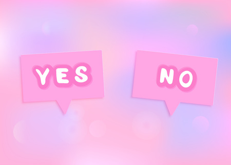 Yes and No banner. Stickers with handwritten lettering and speech bubbles. Element for graphic design - poster, flyer, brochure, card, tag, badge. Vector illustration.