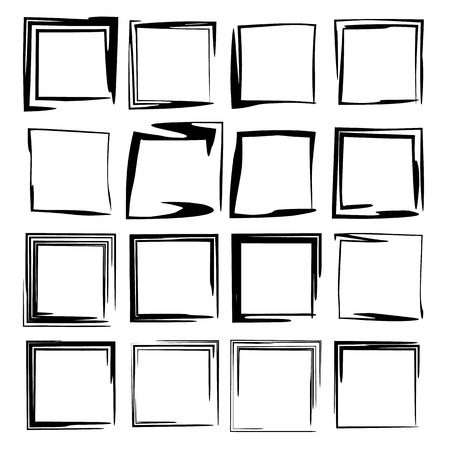 Set of black square grunge frames. Geometric empty borders.  Vector illustration. Stock Illustratie