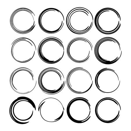 Set of round grunge frames. Empty circlular borders. Vector illustration.