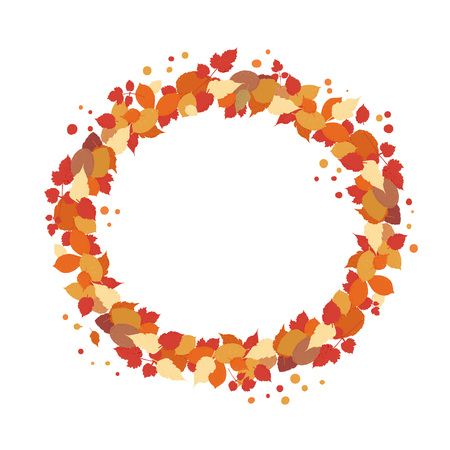 Autumn round wreath with leaves isolated on white background. Element for season design. Circular frame with empty space for text. Vector illustration.