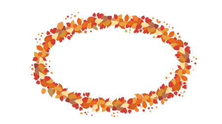 Autumn oval wreath with leaves isolated on white background. Element for season design. Elipse frame with empty space for text. Vector illustration.