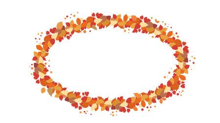 Couronne ovale d'automne avec des feuilles isolées sur fond blanc. Élément pour la conception de la saison. Cadre Elipse avec un espace vide pour le texte. Illustration vectorielle.