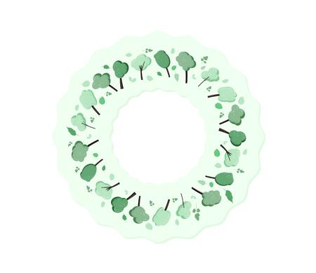 Arbres autour de fond de composition. Conception de couronne d'arbres et de feuilles vertes plates Modèle de carte, bannière, réseau de médias sociaux. Illustration vectorielle.