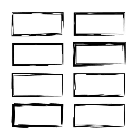 Set of rectangle grunge frames. Collection of empty borders. Template for graphic design. Vector illustration.