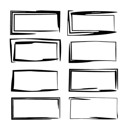 Black rectangle grunge frames. Geometric empty borders. Template for graphic design. Vector illustration.
