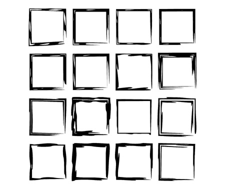 Black square grunge frames. Set of geometric empty borders.  Collection of rectangle elements. Vector illustration. Stock Illustratie