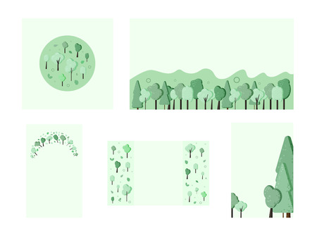 Set of trees composition badges. Flat green trees and leaves stickers with decoration design. Templates for card, banner, social media network. Backgrounds for posts and story. Vector illustration.