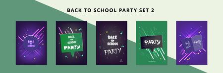 Set of Back to school party banners. Vertical flyers with speech bubble, chalk lettering. Education covers with decoration. Templates for season promotion cards, invitation and social media. Vector illustration.