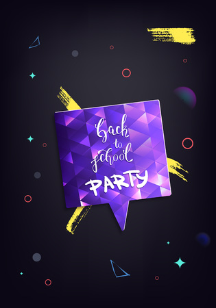Back to school party banner. Flyer with speech bubble and decoration. Education event covers with lettering. Template for season promotion cards, invitation and social media. Vector illustration.