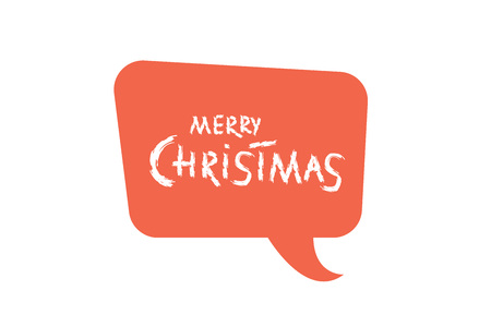 Merry Christmas brush handwritten lettering with red speech bubble. Creative text with decoration for holiday design cards and banners. Vector illustration.