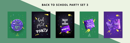 Set of Back to school party banners. Flyers with shine decoration. Education event covers with lettering. Templates for season promotion cards, invitation and social media. Vector illustration. Çizim