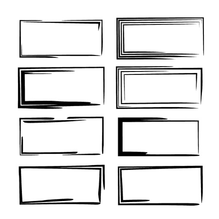Set of black square grunge frames. Collection of geometric empty borders.  Vector illustration.