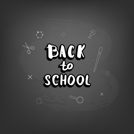 Back to school  lettering on blackboard. Template for season promotion cards. Education banner with decoration. Vector illustration.