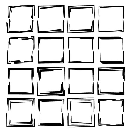 Set of black square grunge frames. Collection of geometric rextangle empty borders.  Vector illustration.