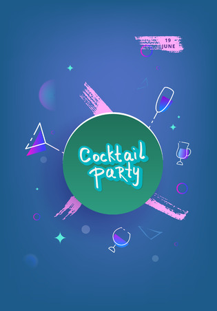 Cocktail party card template. Holiday banner with shine decoration and creative lettering. club event invitation flyer. Vector illustration.