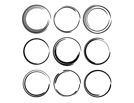 Set of round grunge frames. Empty circlular borders. Ellipse frame collection. Vector illustration. Vector Illustration