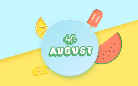 Hello august greeting card composition. Handwritten sticker lettering with bright background. Hello august inscription with decoration. Vector illustration.