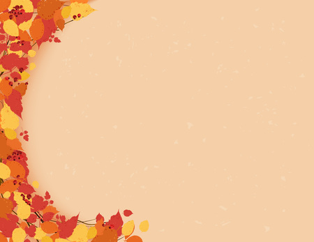 Autumn background with leaves frame. Template for season design. Vector illustration.