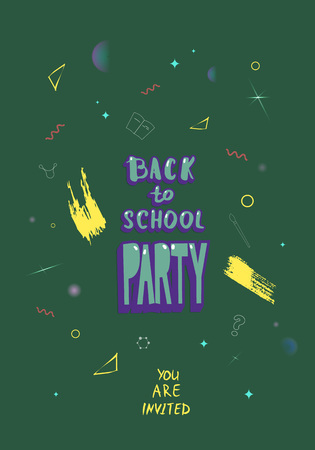 Back to school party banner. Flyer with shine decoration. Education event covers with lettering. Template for season promotion cards, invitation and social media. Vector illustration.