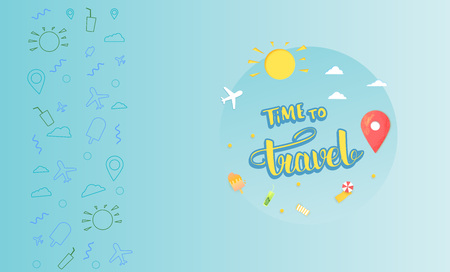 Time to travel compositon with papercut items and decoration. Decorative  background and handwritten lettering.  Template for travel holiday design. Vector illustration.