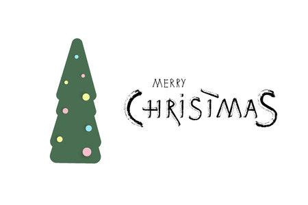 Merry Christmas brush handwritten lettering with decotated tree. Creative text with decoration for holiday design cards and banners. Vector illustration.