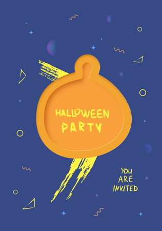 Halloween Party template with pumpkin paper cut shape  decoration. Vertical  banner. Element for holiday design. Vector illustration. Illustration