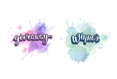 Giveaway  and Winner banner with watercolor splash blot. Handwritten lettering with  decoration. Sticker creative text. Template  for social media nework. Vector illustration.