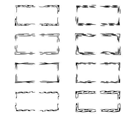 Set of rectangle empty borders elements.  Black ornamental linear frames. Vector illustration. Stock Illustratie