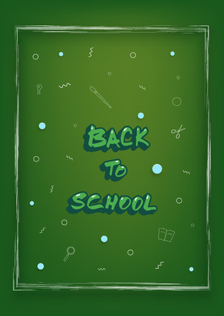 Back to school banner. Template for season promotion cards. Education cover with decoration. Vector illustration.
